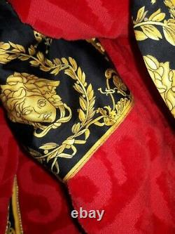 100% Authentic Versace Logo Toweling Baroque Bathrobe in Red Size XL