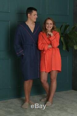 100% Linen NAVY BLUE bathrobe, Natural linen robe, MEN bathrobe, Linen SPA robe