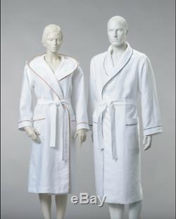 100% Linen bathrobe, Natural linen WHITE bathrobe, Linen SPA robe