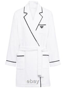 $1430 Authentic Prada Triangle Logo Trimmed White Cotton Bathrobe