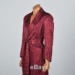 1950s Deadstock Rayon Robe Mens Bathrobe Burgundy Brocade Shawl Collar VTG 50s