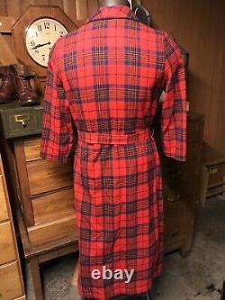 1960s Pendleton Mens Wool Bathrobe Housecoat Smoking Jacket Sz M Plaid Made USA