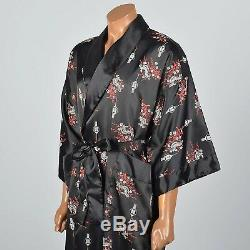 1990s Mens Black Reversible Robe Loungewear Lounge Wear Sleepwear Bathrobe VTG
