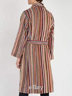 $295 PAUL SMITH Signature Striped Cotton-Terry Dressing Gown/Bath Robe Men's L