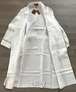 2,000$ Loro Piana White Linen Bathrobe Size Medium Made in Italy