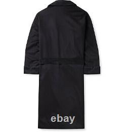 $3,650 LORO PIANA James Piped 100% Baby Cashmere Robe L Large Navy Blue Italy
