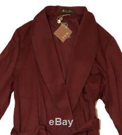 3,650 Loro Piana Burgundy 100% Cashmere Bathrobe Size XL Made in Italy