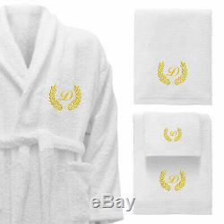 5 Hotel Edition White Set Bathrobe, Bath Towels, Robe-Gold/Silver Personalized