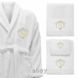 5 Hotel Edition White Set Personalized Bathrobe, Bath Towels Ref. Deluxe