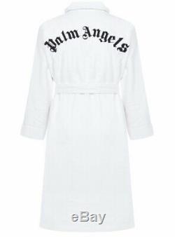 $620 Palm Angels White And Black Embroidered Bath Robe Medium
