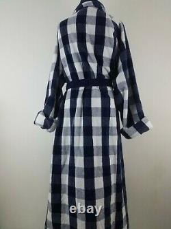 $669 Hästens Unisex Men Women Luxury Bathrobe L Royal Blue Check Egyptian Cotton