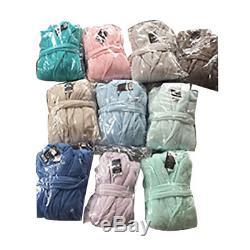 6 Men's Soft Polyester Plush Fleece Bathrobe With Pocket Assorted Bulk Wholesale