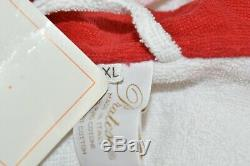$725 NEW Pratesi Robe White Red Bath Pool Lt Terry Cotton EMBROIDERED LOGO XL