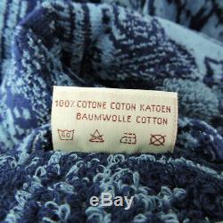 ALVIERO MARTINI 1^ CLASSE men's robe size L blue travel stamps print bathrobe