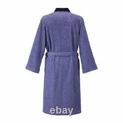 Abri Men's Kimono By Yves Delorme, 100% Cotton, Solid Blue
