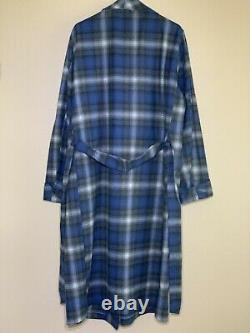 Adult L Pendleton Wool Robe Bathrobe Checkered Plaid Blue Gray