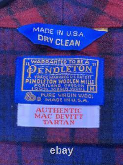 Adult M Pendleton Wool Robe Bathrobe Checkered Tartan Mac Devitt Plaid Red Blue