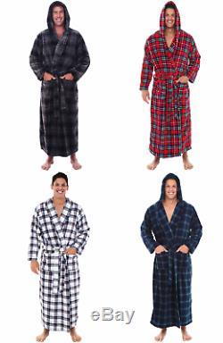 Alexander Del Rossa Mens Fleece Plaid Robe, Long Hooded Bathrobe