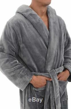 Alexander Del Rossa Mens Plush Warm Robe with Hood, Big and Tall Bathrobe