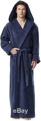 Arus Men'S Hood'N Full Ankle Length Hooded Turkish Cotton Bathrobe