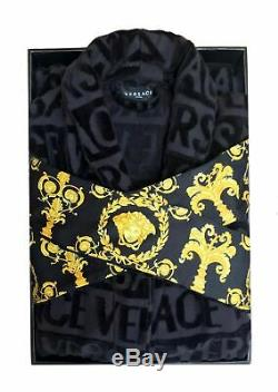 Authentic Versace Medusa Logo I Love Baroque Terry Cloth Jacquard Bathrobe