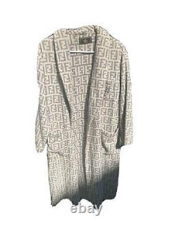 Authentic Vintage Fendi Grey Zucca Monogram towel Bathrobe Robe