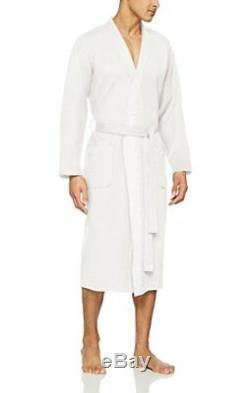 BOSS Men's Waffle Kimono Bathrobe, White 100, Medium