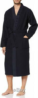 BOSS Men's Waffle Kimono Dressing Gown L, Blue (Dark 403)