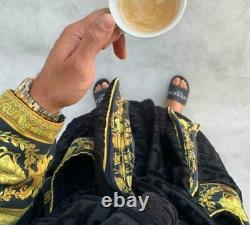 Baroque Medusa Bathrobe Unisex Black Gold. Barocco Bathrobe M, Bridesmaid Robe