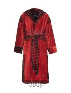 Bathrobe Company Covent Garden London mens hooded bathrobe Red Diamond Large