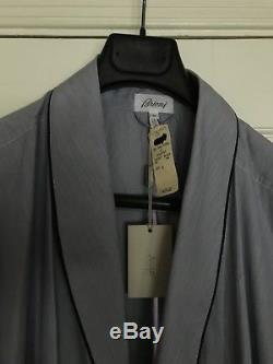 Brioni Bath Robe Dressing Gown Lounge Wear Blue on WhiStripe Size L NWT