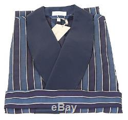 Brioni Men's bathrobe bath robe gown loungewear Bademantel Navy L 100% cotton
