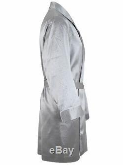 Brioni men's bathrobe dressing gown pajama robe size 2XL 100% silk silver