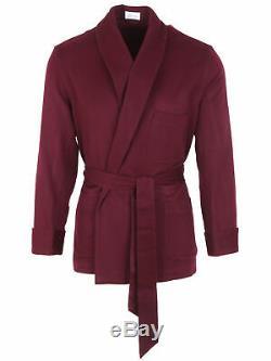 Brioni men's bathrobe dressing gown pajama robe size 46 S 100% cashmere purple