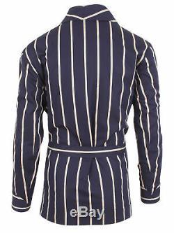 Brioni men's bathrobe dressing gown pajama robe size L 100% cotton blue lacing