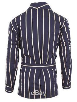 Brioni men's bathrobe dressing gown pajama robe size L 100% cotton blue lacing