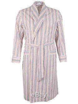 Brioni men's bathrobe dressing gown pajama robe size L 100% cotton striped