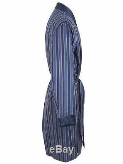 Brioni men's bathrobe dressing gown pajama robe size L 100% cotton striped blue