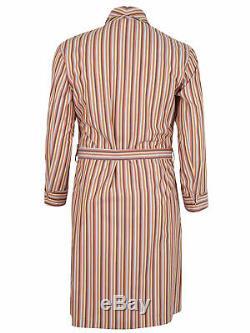 Brioni men's bathrobe dressing gown pajama robe size L 100% cotton striped multi