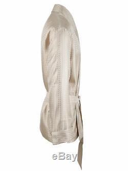 Brioni men's bathrobe dressing gown pajama robe size L 100% silk beige