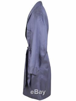 Brioni men's bathrobe dressing gown pajama robe size L 100% silk blue