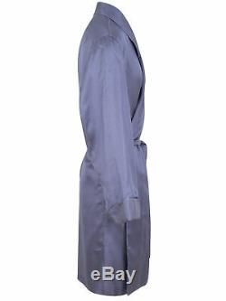 Brioni men's bathrobe dressing gown pajama robe size L 100% silk blue