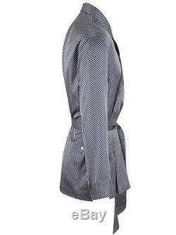 Brioni men's bathrobe dressing gown pajama robe size L 100% silk blue geometric