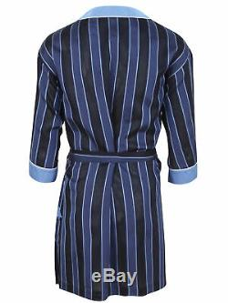 Brioni men's bathrobe dressing gown pajama robe size L 100% silk blue striped