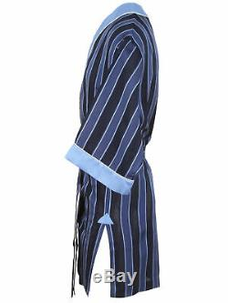 Brioni men's bathrobe dressing gown pajama robe size L 100% silk blue striped