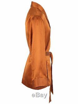 Brioni men's bathrobe dressing gown pajama robe size L 100% silk brown lacing