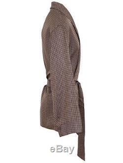 Brioni men's bathrobe dressing gown pajama robe size L 100% silk brown lacing