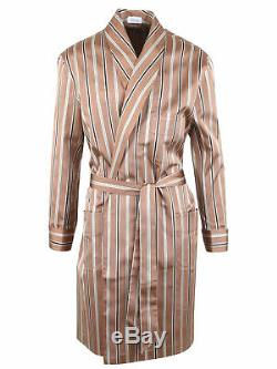 Brioni men's bathrobe dressing gown pajama robe size L 100% silk brown striped