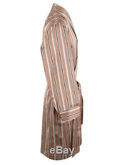 Brioni men's bathrobe dressing gown pajama robe size L 100% silk brown striped