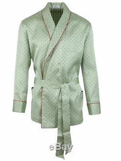 Brioni Mens Bathrobe Dressing Gown Pajama Robe Size L 100 Silk Green